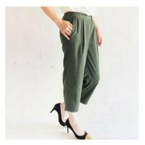 NWT J.Crew Green Drapey Patio Trouser Pants